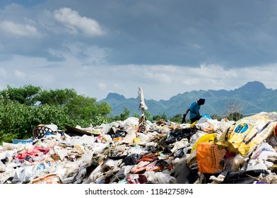 KANCHANABURI PROVINCE, THAILAND. JUNE 19 2018. Waste from household in waste landfill. Waste disposal in dumping site in THAILAND