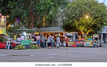 Kanchanaburi; Thailand. 08/20/2017. Night Street market in the bridge over the river Kwai in Kanchanaburi (Thailand).