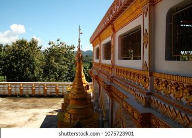KANCHANABURI THAILAND –OCT 20 : Atmosphere of small pagoda at wangvivagaram temple near border thailand and myanmar represent thailand tourism on October 20, 2017 in Kanchanaburi , Thailand.
