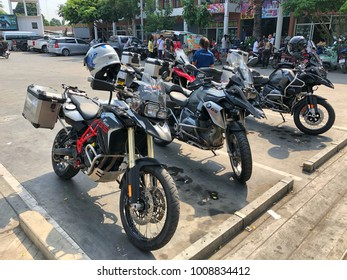 KANCHANABURI THAILAND 20 JAN 2018: The BMW R1200 GS motorcycle parked in the gas station waiting for travel with adventure touring motorcycle.