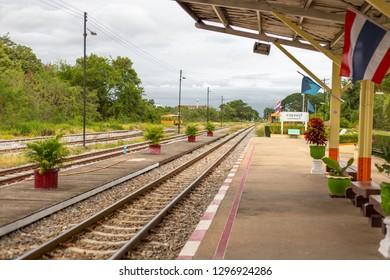 KANCHANABURI, THAILAND: 25 June 2018 Kanchanaburi Railway Station in the evening in Kanchanaburi, Thailand