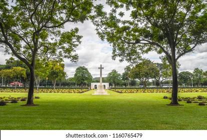 KANCHANABURI THAILAND  AUGUST 12 2018  , Kanchanaburi war cemetery - world war II prisoner of war cemetery on AUGUST 12 2018