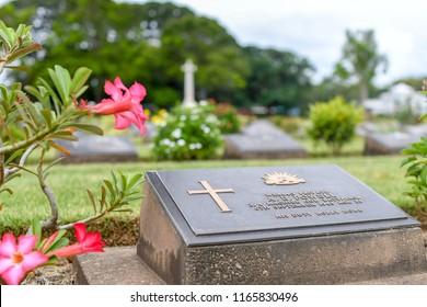 KANCHANABURI THAILAND  AUGUST 12 2018  , Tombstone at Kanchanaburi war cemetery - world war II prisoner of war cemetery on AUGUST 12 2018