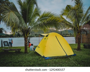 KANCHANABURI, THAILAND - AUGUST 14 : Tourist tent in camp among meadow in the mountain view at Kanchanaburi on the August 14, 2018 in Kanchanaburi, Thailand