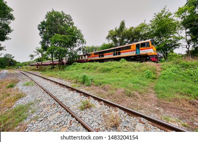 Kanchanaburi, Thailand - August 16, 2019 : Train park at Nam Tok Railway Station in Sai Yok District this route is go to Sai Yok Noi waterfall