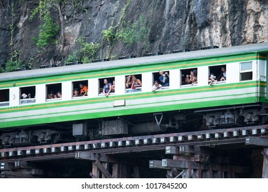 KANCHANABURI, THAILAND - AUGUST 19, 2017: travellers enjoy a rail trip over Thailand-Burma Death Railway along the Kwai River