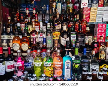 Kanchanaburi, Thailand -August 21-08-2019 : Bottles of spirits and liquor at the  Shop at Tai Ta Ya Monastery (Dan Chedi Sam Ong Market) Kanchanaburi, Thailand.