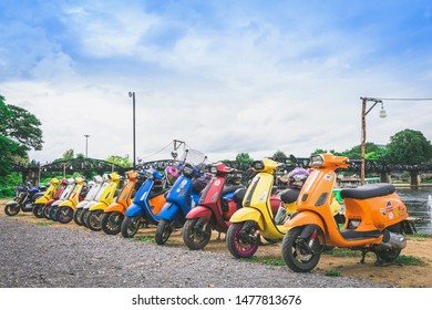 KANCHANABURI, THAILAND - August 4 : Vespa gang were parking in the line for meeting and gethering after touring together at The Bridge of the River Kwai on august 4,2019 in Kanchanaburi,Thailand.