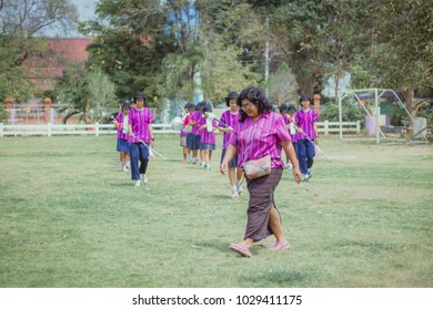 KANCHANABURI THAILAND - FEBRUARY 20 : Unidentified teacher and students practice the marching band on february 20,2018 at Wat Krang Thong School in Kanchanabu
