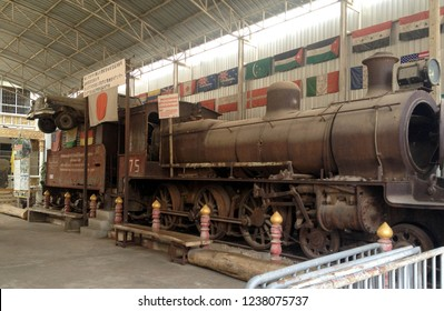 KANCHANABURI - THAILAND - February 25, 2016 : A Japanese locomotive train that used on The Bridge over the river kwai (Burma Railway) decommissioned and placed in JEATH War Museum in Thailand.