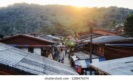 Kanchanaburi, Thailand - Jan 14, 2018 : E-Tong Village is the famous homestay hotel style.  It's located on the mountain near Myanmar border.  It's a dream travel destination for tourists.
