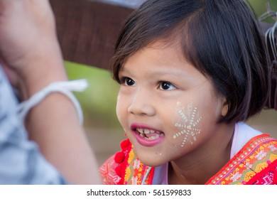 KANCHANABURI, THAILAND - JAN 16, 2017: Unknown child, Children in Sangkhlaburi, Kanchanaburi Thailand.