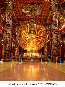 Kanchanaburi, Thailand, January, 09,2019,WAT METTADHARMABODHIYAN  Lunar New Year2019 ,Chinese God statue Guanyin in Chinese temple