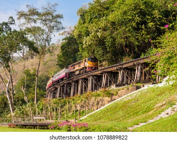 Kanchanaburi, Thailand- January 13, 2018: The train traveling along historic Death Railway which was built by the Allied prisoners of war under the captivity of Japanese army during the World War II.