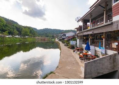 Kanchanaburi, Thailand January 14, 2019: beautiful view of E Thong village, Pilok,Thong Pha Phum kanchanaburi , Thailand