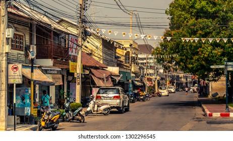 Kanchanaburi, Thailand, January 24 2018 Pakprak Road, kanchanaburi, ancient street, is the main street of the old district of Kanchanaburi