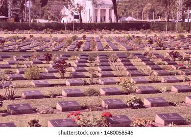 KANCHANABURI, THAILAND - JANUARY 25: War Cemetery view on January 25, 2008 in Kanchanaburi, Thailand. 6,982 British, Australian and Dutch prisoners of war are buried here.