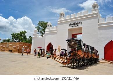 Kanchanaburi, Thailand - July 1, 2017 : Mallika city, the tourist attraction at Kanchanaburi, The past of siamese lifestyle in Thailand