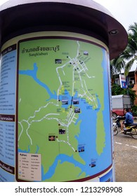 Kanchanaburi, Thailand - July 21, 2014: View of the map station for traveling in Sangkhla Buri, a district in the Kanchanaburi Province in western Thailand.