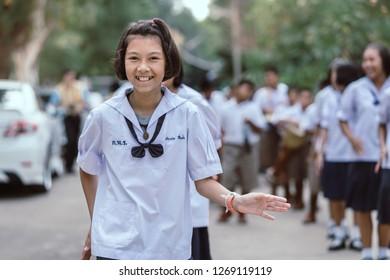 KANCHANABURI THAILAND - JULY 26 : Unidentified teacher and students  participated for Buddhist Lent Day in buddhist culture at Watkrangthongratburana on July 26,2018 at  in Kanchanaburi, Thailand