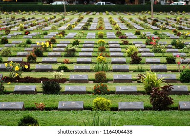 Kanchanaburi Thailand - June 30 2018 : The Kanchanaburi War Cemetery is the main prisoner of war cemetery for victims of Japanese imprisonment while building the Burma Railway - Park and Garden.