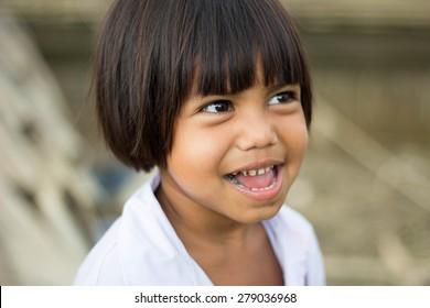 KANCHANABURI, THAILAND -  MAR 25, 2015: Unknown child, Children are happy in Sangkhlaburi, Kanchanaburi Thailand.