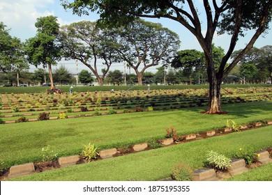 KANCHANABURI, THAILAND - MARCH 18, 2018 Commonwealth war graves, Kanchanaburi War Cemetery and plots 2 and 4