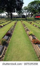 KANCHANABURI, THAILAND - MARCH 18, 2018 Commonwealth war graves, Kanchanaburi War Cemetery and plot 2