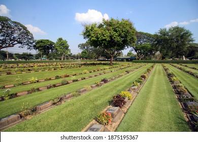 KANCHANABURI, THAILAND - MARCH 18, 2018 Commonwealth war graves, Kanchanaburi War Cemetery and plots 2