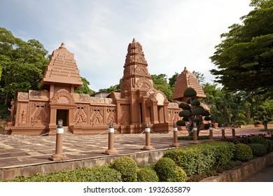 KANCHANABURI, THAILAND - MAY 29, 2018: Wat Tham Phu Wa is a beautiful Temple in Kanchanaburi. Modern architecture inspired by Khmer Art. There is amazing Cave Temple and Vipassana Meditation Center.