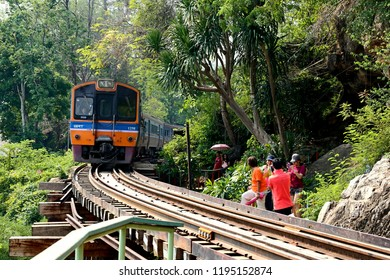 Kanchanaburi / Thailand - May 7 2016: Train park in Nam Tok station. It's a part of Death Railway that construction in World war II period in Thailand