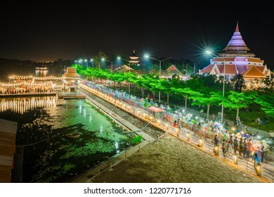KANCHANABURI THAILAND -NOVEMBER 2 : Scenery of the 19th Supreme Patriarch (The Sangkharat) hirtorical museum when has a night market on November 2 ,2018 in Kanchanaburi, Thailand.