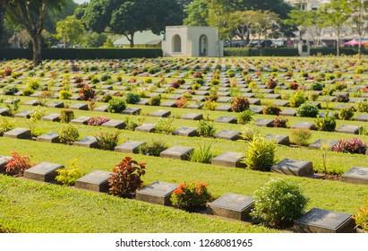 KANCHANABURI, THAILAND - November 25, 2018: The Kanchanaburi War Cemetery (don rak)cemetery for victims of Japanese imprisonment while building the Burma Railway