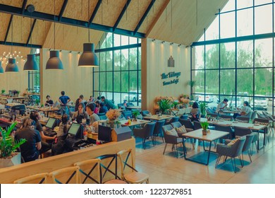 KANCHANABURI THAILAND - NOVEMBER 4 :  People come to relax and eat at The Village Farm To Cafe' on November 4,2018 in Kanchanaburi, Thailand