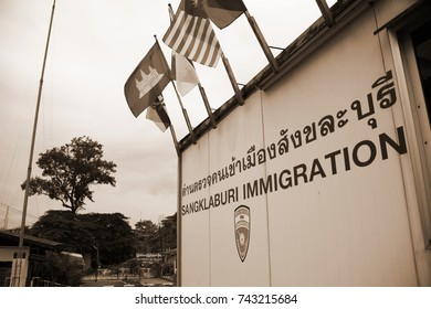 KANCHANABURI, THAILAND - OCT, 21: Old immigration office for visitor service at the border between thai and myanmar territory represent thailand tourism on October 21, 2017 in Kanchanaburi Thailand.