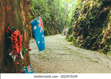 "Kanchanaburi, Thailand - October 17, 2016: Australia flag embroidered on Hellfire Pass in Kanchanaburi of Thailand, ""Death Railway"" was built by Allied prisoners of war the Second World War."