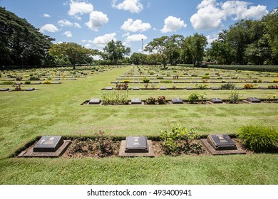 KANCHANABURI, THAILAND - OCTOBER 2, 2016: Chungkai War Cemetery in Thailand, Graveyard for soldiers and captives in the Kwai river bridge (Death Railway).