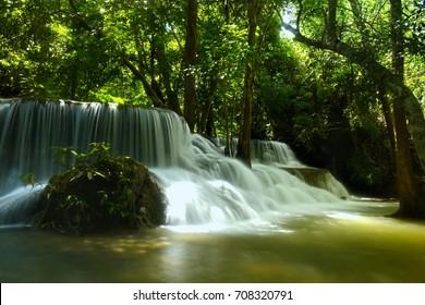 Kanchanaburi, THAILAND - SEP 02: 2017. Huai Mae Khamin Waterfall (Namtok Huai Mae Khamin) is a major attraction in Sri Nakarin National Park