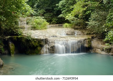 Kanchanaburi, THAILAND - SEP 02: 2017.Erawan waterfall at Erawan National Park.