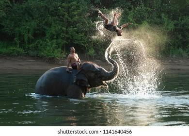 Kanchanaburi, Thailand - Sep 15,2015;Elephant Show on the River Kwai in Kanchanaburi, Thailand