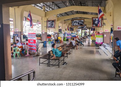 Kanchanaburi/Thailand- 1 July 2017:Unacquainted People waitting to transit in kanchanaburi Bus terminal at kanchanaburi city Thailand.