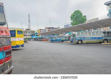 Kanchanaburi/Thailand- 1 July 2017:vintage Bus parking in kanchanaburi Bus terminal at kanchanaburi city Thailand.