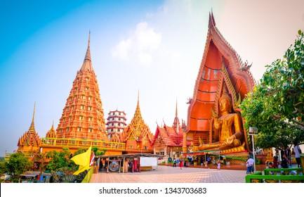 KANCHANABURI,THAILAND 12 february 2018 - people come to visit Wat tam sue temple,located in Kamchanaburi,Thailand