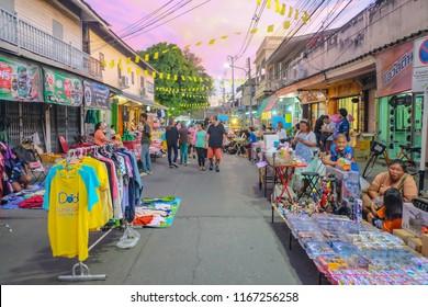 Kanchanaburi/Thailand- 21 Novenber 2015:Unacquainted Tourist Walking in Walking street Pakphraek Kanchanaburi,thailand travel