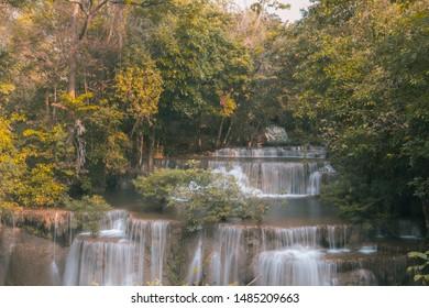 KANCHANABURI,THAILAND - February 17, 2019 : Huay Mae khamin waterfall (Khuean Srinagarindra National Park) of thailand. / Beautiful water fall in Autumn at Kanchanaburi province,Thailand.