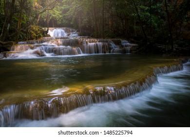 KANCHANABURI,THAILAND - February 17, 2019 : Huay Mae khamin waterfall (Khuean Srinagarindra National Park) of thailand. / Beautiful water fall at Kanchanaburi province,Thailand.