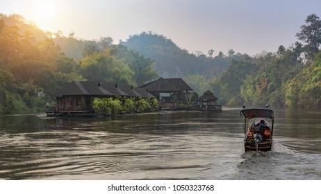 Kanchanaburi,Thailand - February 19, 2018:River view with raft house on River Kwai in Kanchanaburi