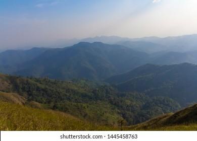 KANCHANABURI,THAILAND - January 25, 2019 : Khao Chang Puak is a mountain within Thong Pha Phum National Park in Kanchanaburi province,Thailand.
