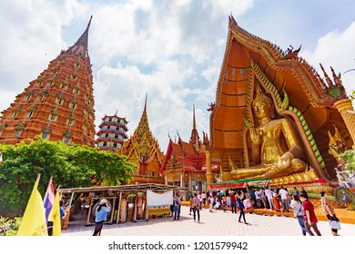 Kanchanaburi,Thailand- October 7 ,2018- Thai tourists and foreigners appreciate the beauty of Wat Tham Sua temple. There are large pagoda and Buddha statue, located at Kanchanaburi province ,Thailand.