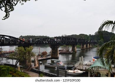 KANCHANABURI,THAILAND-DECEMBER5,2018.Many people came to visit at River Kwai Bridge Light&sound Week.on december 5,2018 in Kanchanaburi,Thailand